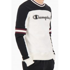 Jersey Champion Colour Block Script Logo Stripe Blanco Negro