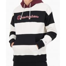 Sudadera Champion Striped Contrast Hood Oversized Negra Blanca