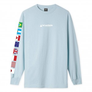 Camiseta Manga Larga HUF Flag Union Azul Celeste