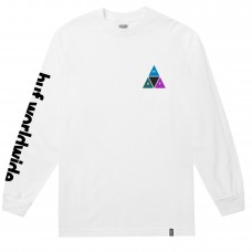 Camiseta Manga Larga Huf Prism Triple Triangle Blanca