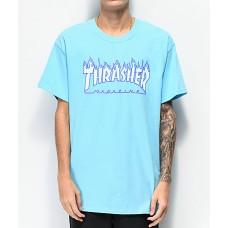 Camiseta Manga Corta Thrasher Flame Logo Sky Blue
