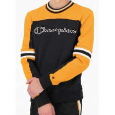 Jersey Champion Colour Block Script Logo Stripe Negro Amarillo