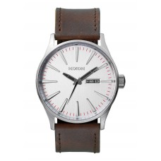 Reloj Nixon Sentry Leather Silver / Brown