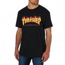 Camiseta Manga Corta Thrasher Flame Negra